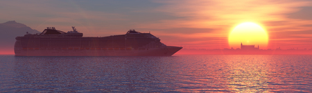 3d illustration of a cruise on the sea Stock Photo