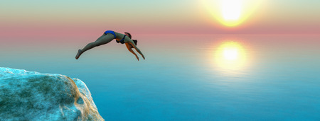woman jumping to the water 3d illustration Foto de archivo