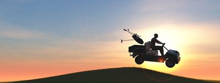 Golfspeler met golfkar die een sprong 3d illustratie geeft Stockfoto