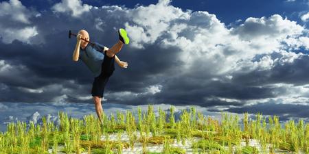Elderly man exercising, 3d illustration 版權商用圖片