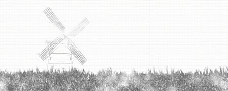 illustration of traditional windmill 写真素材