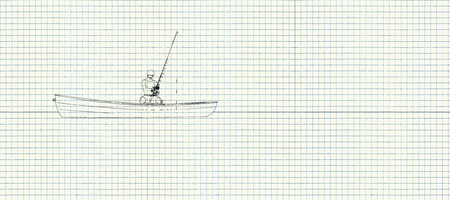 illustration on a sheet of paper of a man fishing Stock Photo