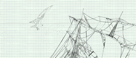 illustration on a sheet of paper of an eagle flying over a sailboat
