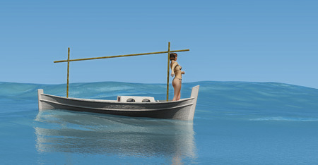 3d illustration of llaud traditional boat in the Balearic Islands, Spain 写真素材