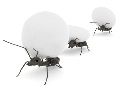concept work, team of ants moving stones, 3d illustration