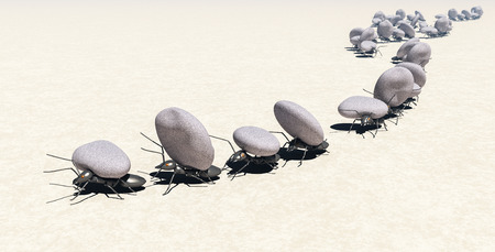 concept work, team of ants moving stones; 3d illustration