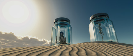 3d illustration of a woman locked in a glass boat in the desert