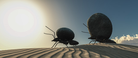 concept work, team of ants moving stones 3d illustration