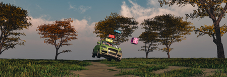 3d illustration, concept we go to the beach, car heading to the beach driven by a woman, loaded with suitcases that fly out