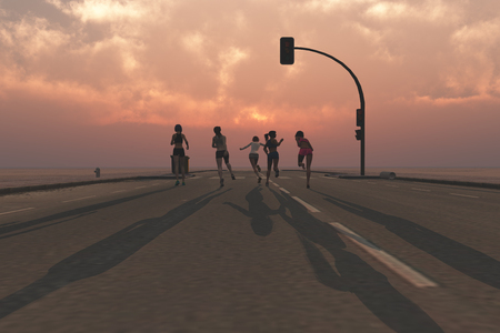 3d illustration of a group of women running