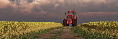 3d illustration of a tractor circulating in wheat field