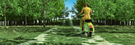 3d illustration of a woman on a motorbike