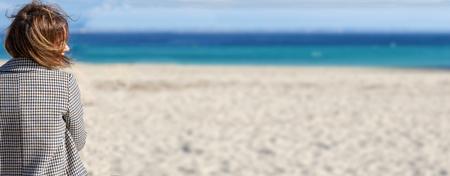 woman and mediterranean beach Imagens