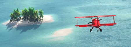 3d illustration of a prototype aircraft flying over the sea Banco de Imagens