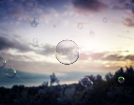 bubble floating in the air Stockfoto - 131853939