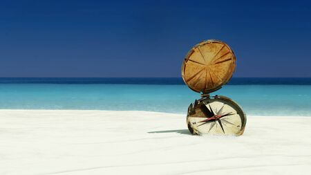 old compass in tropical beach 3d illustration