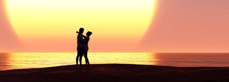 3d illustration man and woman in love and sunset