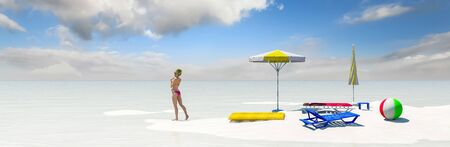 3d illustration of tourist items on a beach, tourism concept
