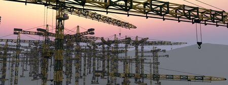 3d illustration of construction cranes Banque d'images - 131263632