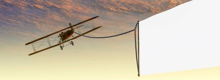 3d illustration of a biplane with an advertising sign