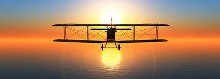 3d illustration of a biplane