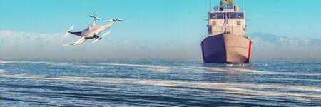 3d illustration of a coastguard ship and drone