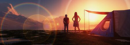 3d illustration of mother and son watching a sunset Standard-Bild - 138029549