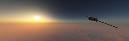 3d illustration of airplane prototype furrowing the sky 스톡 콘텐츠