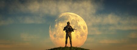 3d illustration of armed soldier guarding and moon