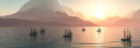 3d illustration, sailboat sailing in the sea