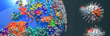 3d illustration of terrestrial globe, covid 19 coronavirus