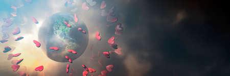3d illustration, flying hearts and earth globe Standard-Bild
