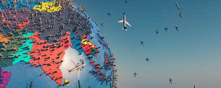 3d illustration of earth globe, boxes and planes, transportation concept Standard-Bild
