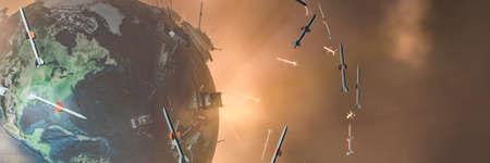 3d illustration of earth globe, ballistic missile, tank, war concept