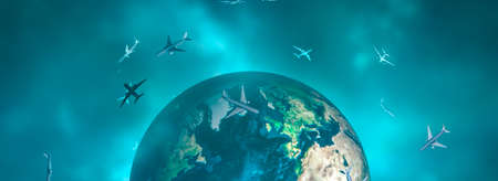 3d illustration, flying planes and earth globe
