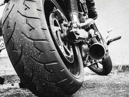 Its bestial. Close-up on a big displacement, motorcycle. Stock Photo