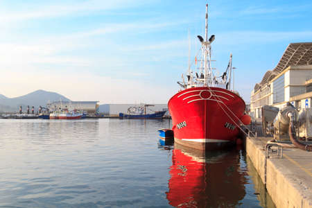 Fishing boats moored in the port of Santoña, famous for anchovy fishing