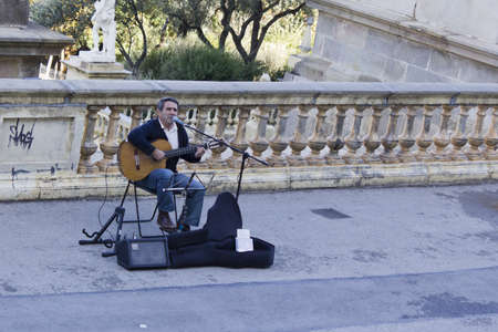 BARCELONA - OCTOBER 25: Musician Street at Montjuic on OCT 25th 2011 in Barcelona, Spain