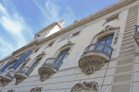 Barcelona classical facade with balconies decorated and blue sky Stock Photo - 11129030