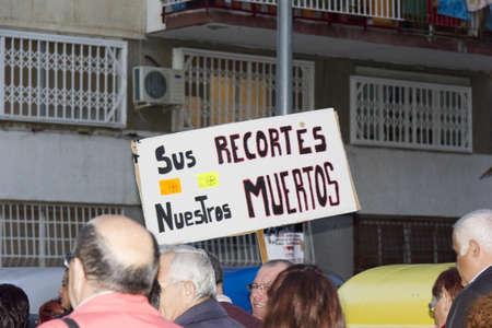 public health: Bellvitge, ESPA�A - 10 de noviembre: Manifestaci�n por los recortes en Salud P�blica en 10 de noviembre 2011 en Bellvitge, Espa�a