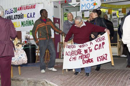 BELLVITGE, SPAIN - NOVEMBER 10: Manifestation for cuts in Public Health  on NOV 10th 2011 in Bellvitge, Spain Editorial