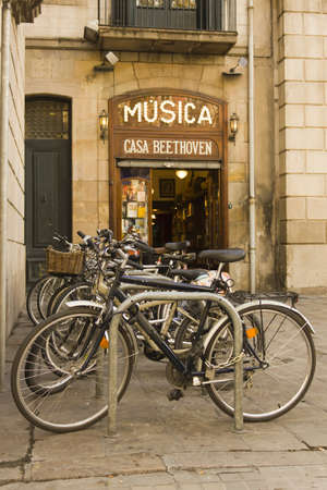 Old music store and bicycle