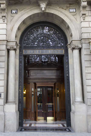 The entrance to a former luxury hotel