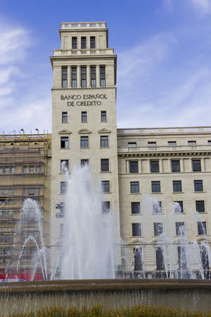 Spanish Bank of Credit and fountain in Barcelona