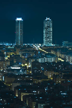 Night view of the twin towers in Barcelona, Spain