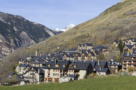 High mountain village in the Spanish Pyrenees, detail of the houses Stock Photo - 11762505