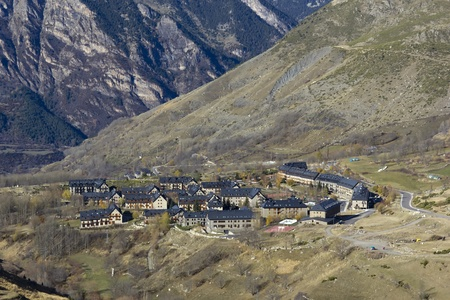 High mountain village in the Spanish Pyrenees, detail of the houses Stockfoto