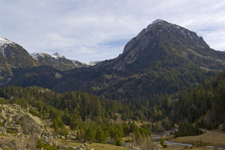 Snow-capped mountain in the Aig�estortes National Park in the Spanish Pyrenees Stock Photo