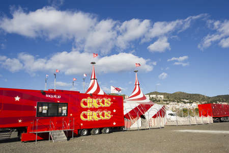 Red and white tent of the Circus, and ticket office