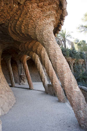 Park Guell, designed by the famous architect Antonio Gaudi, Barcelona Espa�a Editorial